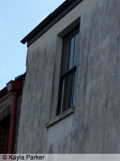 Colour photo of Batter Street, Plymouth; close view of L-shaped studio window